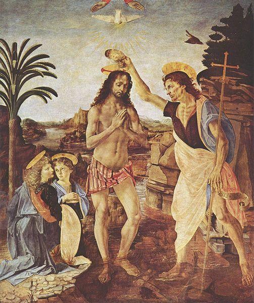 Картина Верроккьо «Крещение Христа». Ангел слева (левый нижний угол)- творение кисти Леонардо.