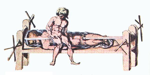 Гиппократово ложе. Приспособление используемое для растяжения позвоночника. Рисунок из византийского издания работ Клавдия Галена.