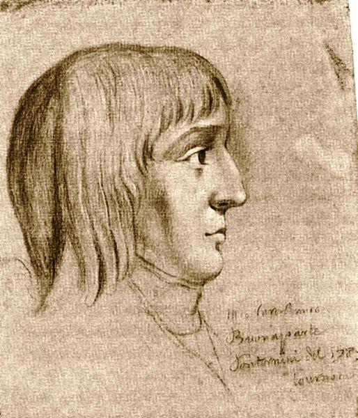 Наполеон в возрасте 16 лет (рисунок мелом неизвестного автора)