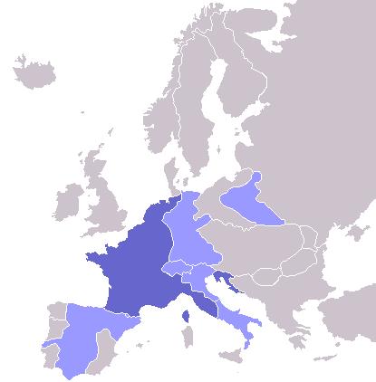 Наполеоновская Империя, 1811: Франция показана тёмно синим, зависимые государства — светло-синим