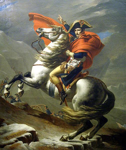 Наполеон на перевале Сен-Бернар. Жак Луи Давид изображает будущего императора ведущим войска в бой — к неминуемому триумфу