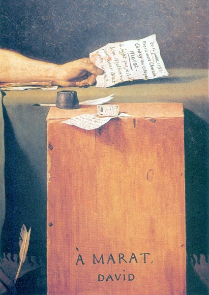 Ложный донос Марату от Шарлотты Корде. Деталь картины Жака Луи Давида