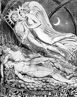 Иллюстрации к поэме «Потерянный рай» художника и поэта-романтика Уильяма Блейка. 1808 г.
