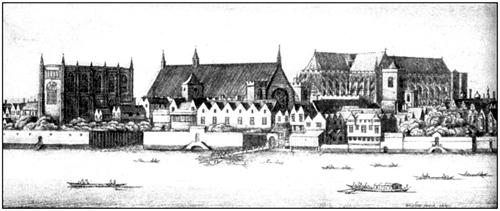 Парламент, дворец и Вестминстерске аббатство. Гравюра В.Холлара. XVII в.