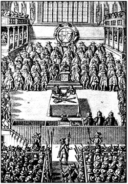 Суд над Карлом I. Гравюра XVII в.