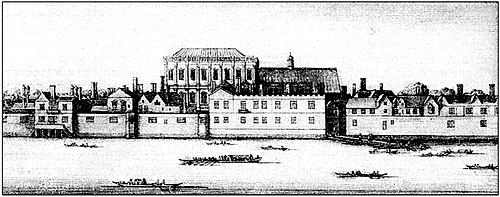 Дворец Уайтхолл, в годы протектората Кромвеля ставший его резиденцией. Здесь же поселился и Д.Мильтон. В период Реставрации там со своим двором пребывал Карл II. Гравюра В.Холлара. XVII в.