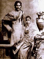 Тагор и его жена Мриналини Деви в 1883