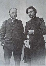 Писатели Леонид Андреев (справа) и Викентий Вересаев.