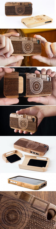 Защитный футляр для iPhone из дерева с лазерной гравировкой «Wood Camera iPhone 4 Case»