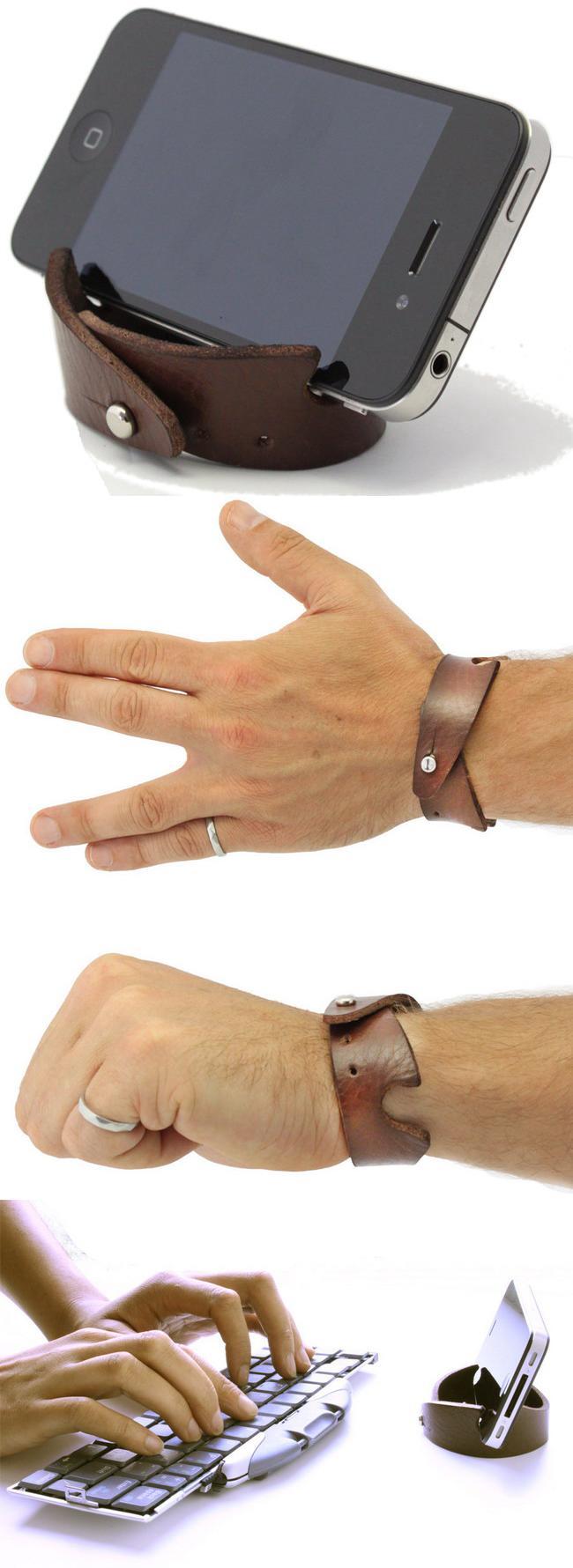 Кожаный браслет – подставка для мобильных устройств