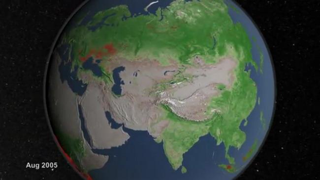 Хронология пожаров на планете Земля (видео)