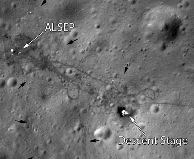 NASA получило снимки с высоким разрешением места высадки на Луне аппаратов «Аполлон»