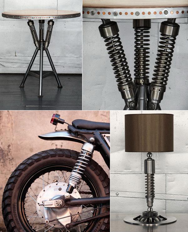 Мебель с элементами деталей от авто и мото техники