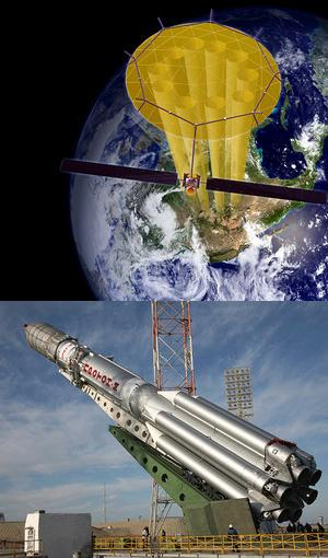 Огромная антенна ретрансляционного спутника «SkyTerra-1»