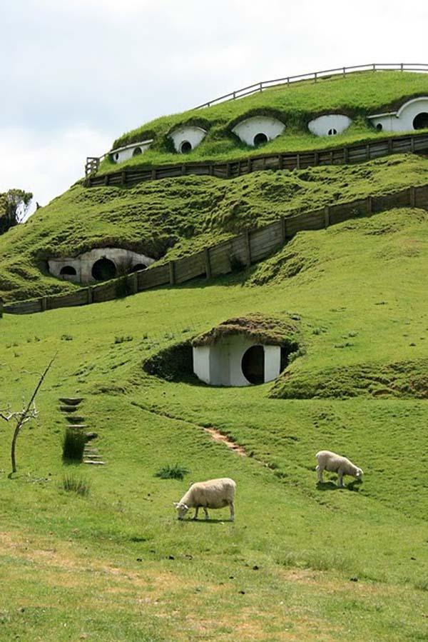Дома Хоббитов из фильма «Властелин Колец» в Новой Зеландии