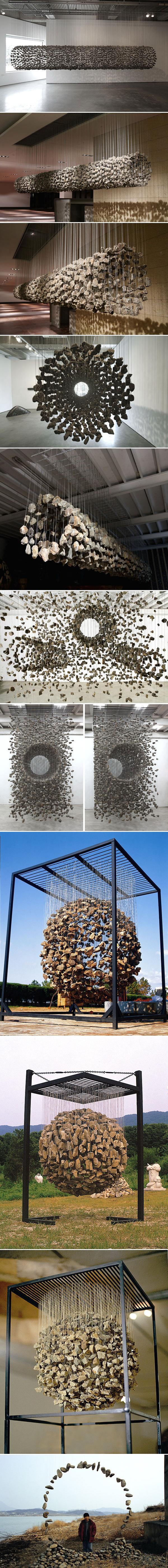 Управление природными материалами в исталляции «Летающие камни»