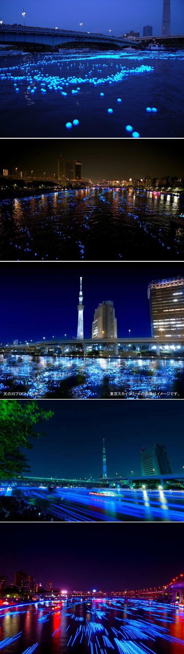 100000 светящихся шариков проплыли по реке в столице Японии