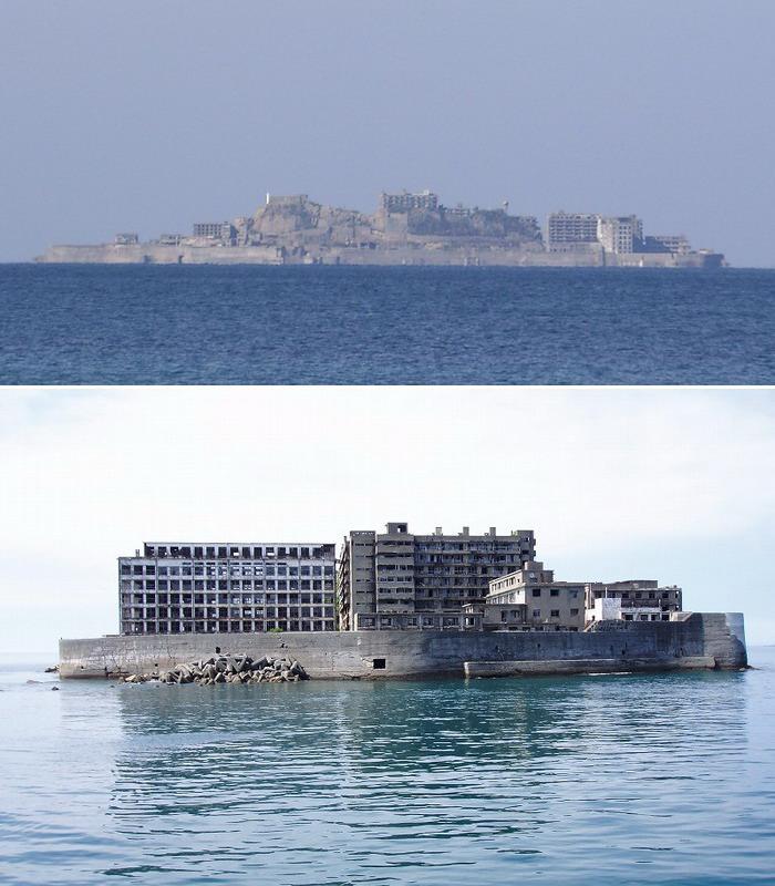 Заброшенный остров Хасима, Япония, вид с моря