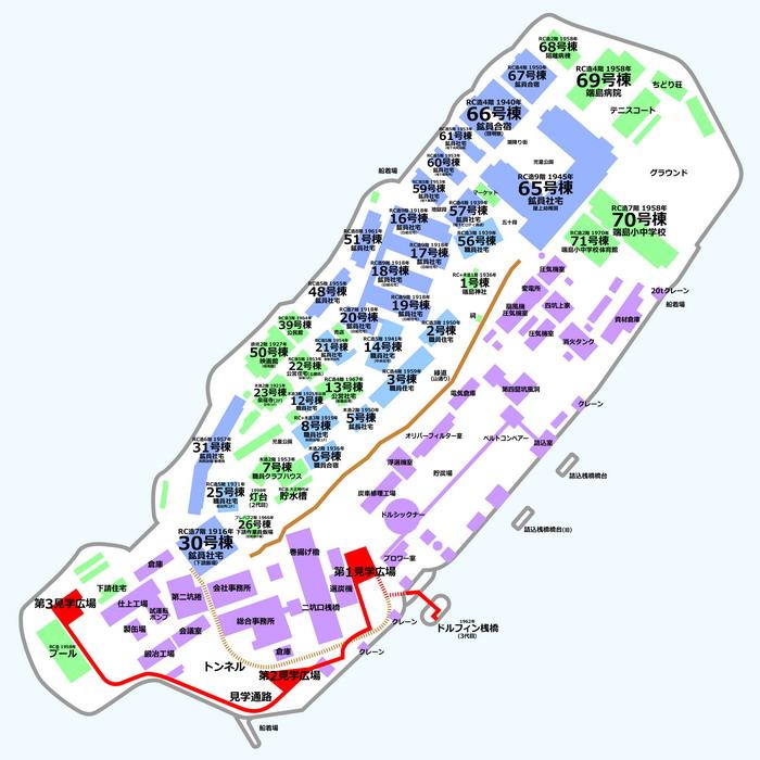 Схема расположения зданий на острове (красным цветом выделена территория, открытая для свободного посещения)