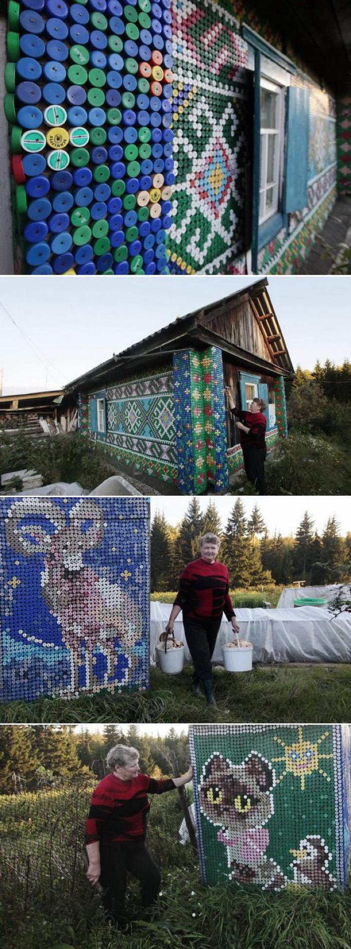 30 000 крышек от бутылок для украшения небольшого деревенского дома