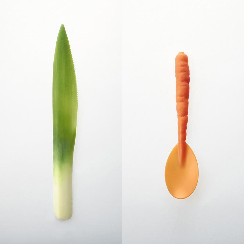 Биоразлагаема посуда «Graft Tableware» выглядит как овощи