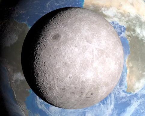 Вид на Землю с обратной стороны Луны (видео)