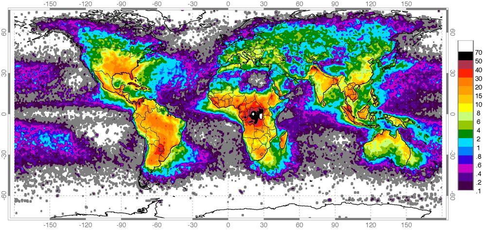 Грозовая активность на нашей планете