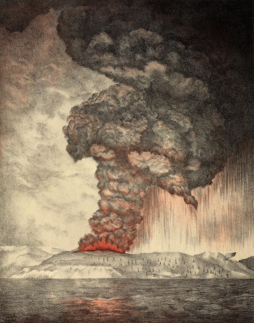 Извержение 1883 года (литография, 1888)