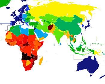 Сопоставление значений средней продолжительность жизни в мире