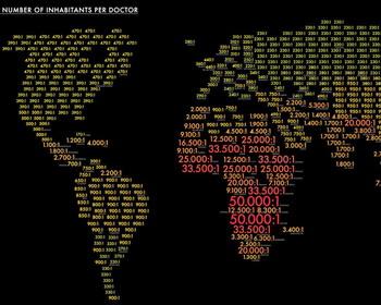 Отношение числа жителей отдельных стран к числу лечащих врачей
