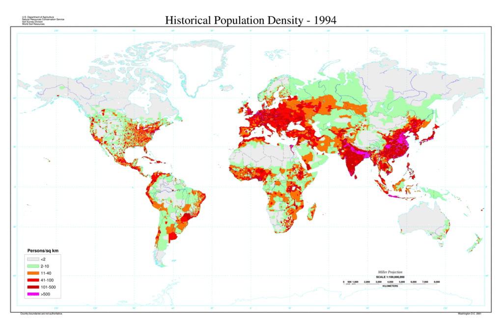 Плотность населения планеты Земля