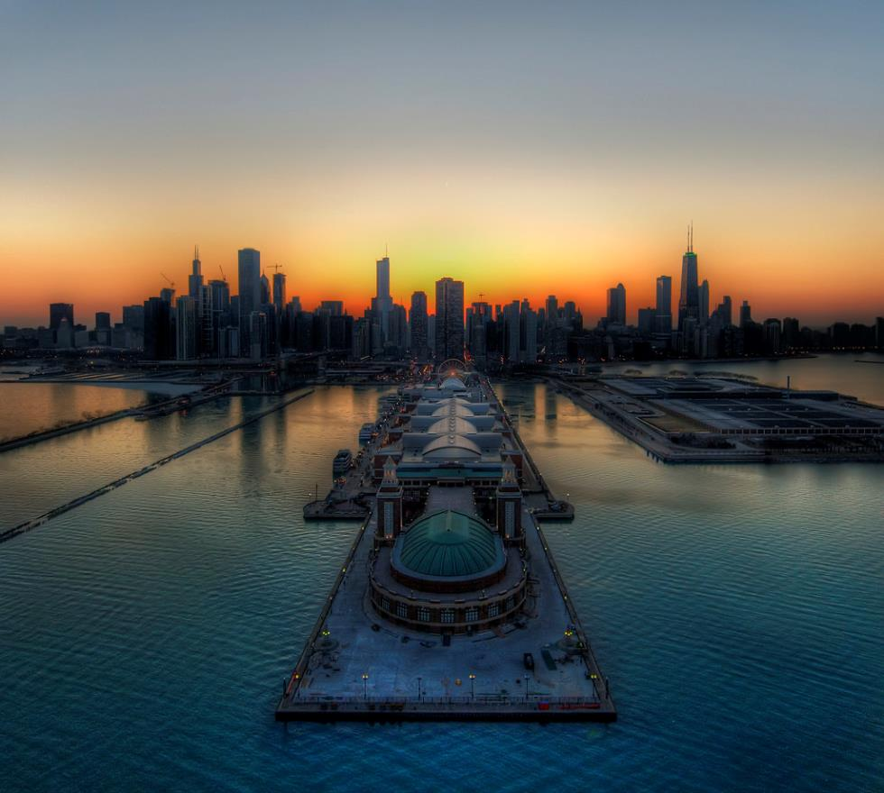 Красочный горизонт Чикаго, штат Иллинойс, США