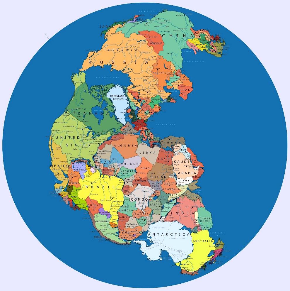 Пангея при существующих границах стран