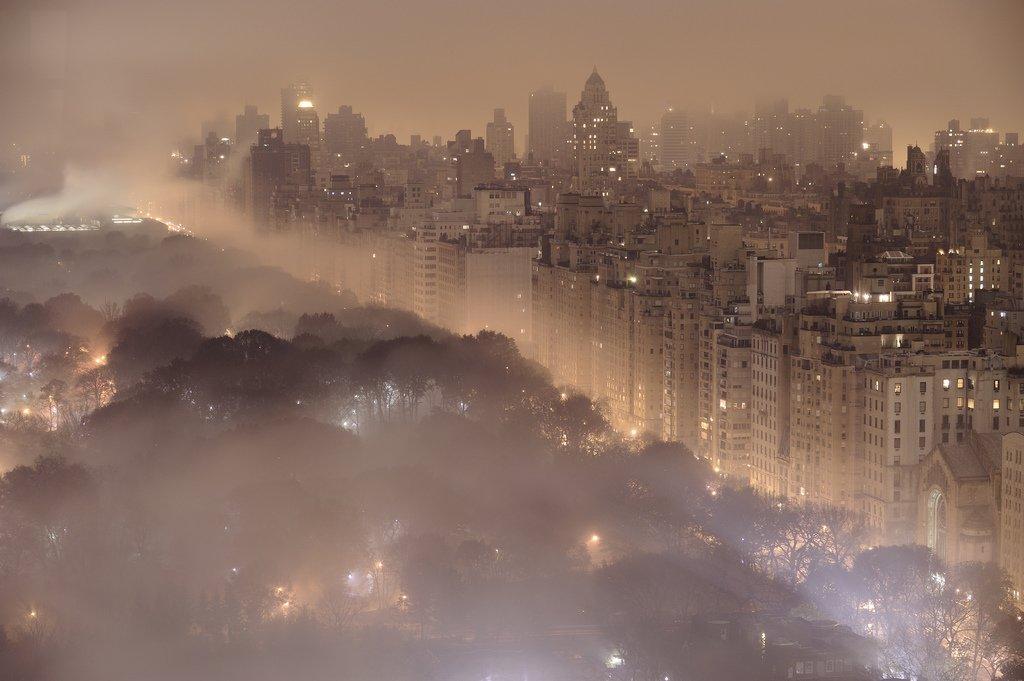 Ночной Нью-Йорк со стороны Центрального парка
