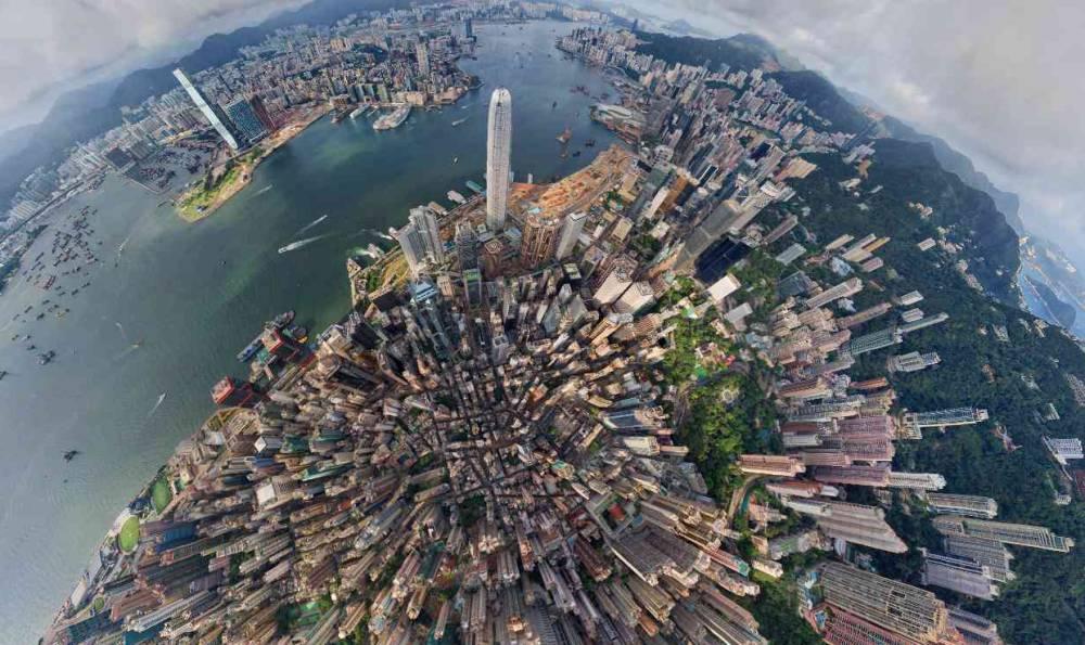 Вид с воздуха на Гонконг