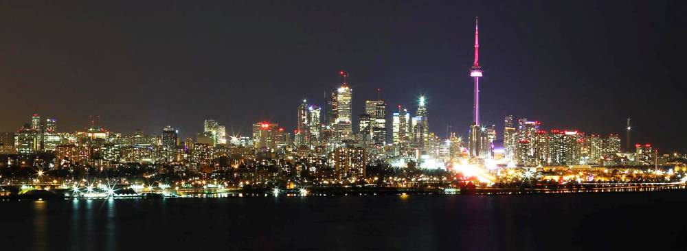 Живописная панорама ночного Торонто, Канада