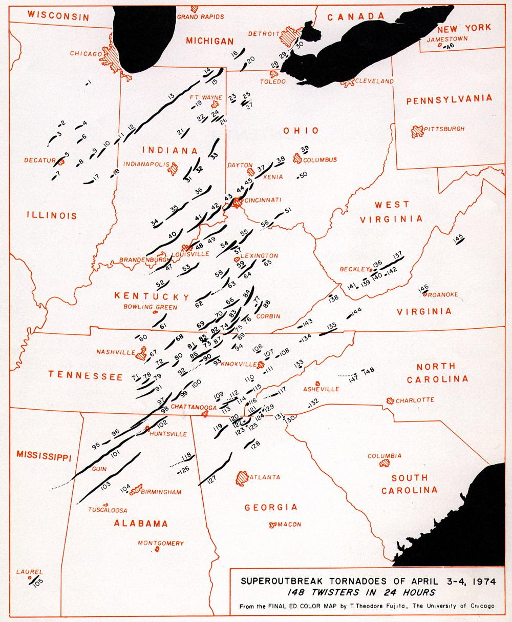 Карта путей торнадо, США