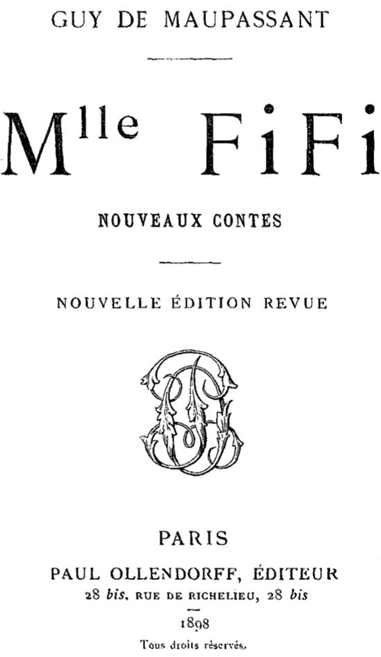 Ги де Мопассан. Титульный лист издания новеллы «Мадемуазель Фифи»