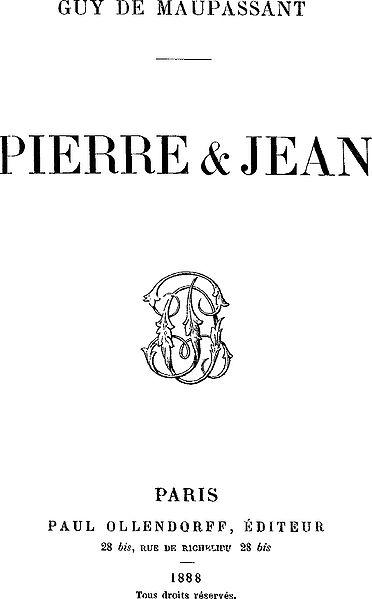 Ги де Мопассан. Титульный лист издания романа «Пьер и Жан»
