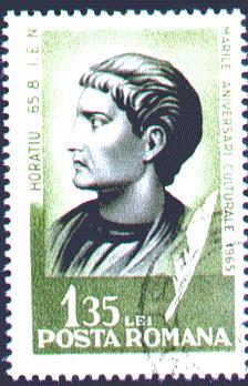 Почтовая марка Румынии, посвящённая Горацию