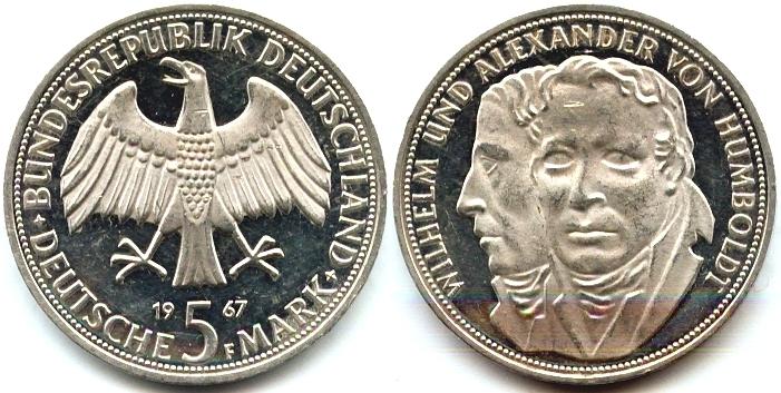 5 марок 1967 г. — памятная монета ФРГ, посвящённая братьям Александру и Вильгельму фон Гумбольдт