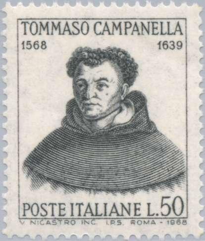 400 лет со дня рождения Томазо Кампанеллы. Италия, 1968, 50 L. П. металлография. 14 x 13 (1/2). черная