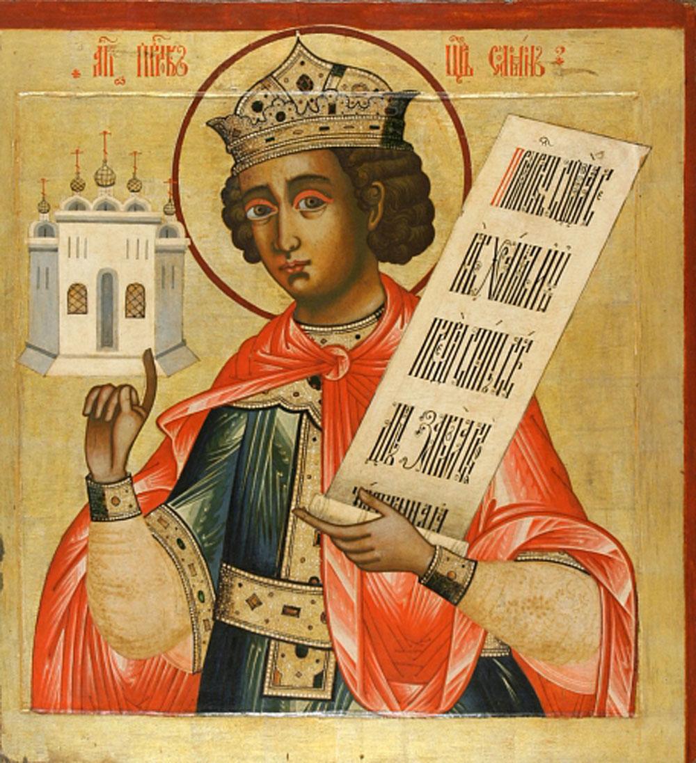 Царь Соломон, держащий в руках изображение Храма. Икона из пророческого ряда церкви Преображения, Кижи, XVIII в.