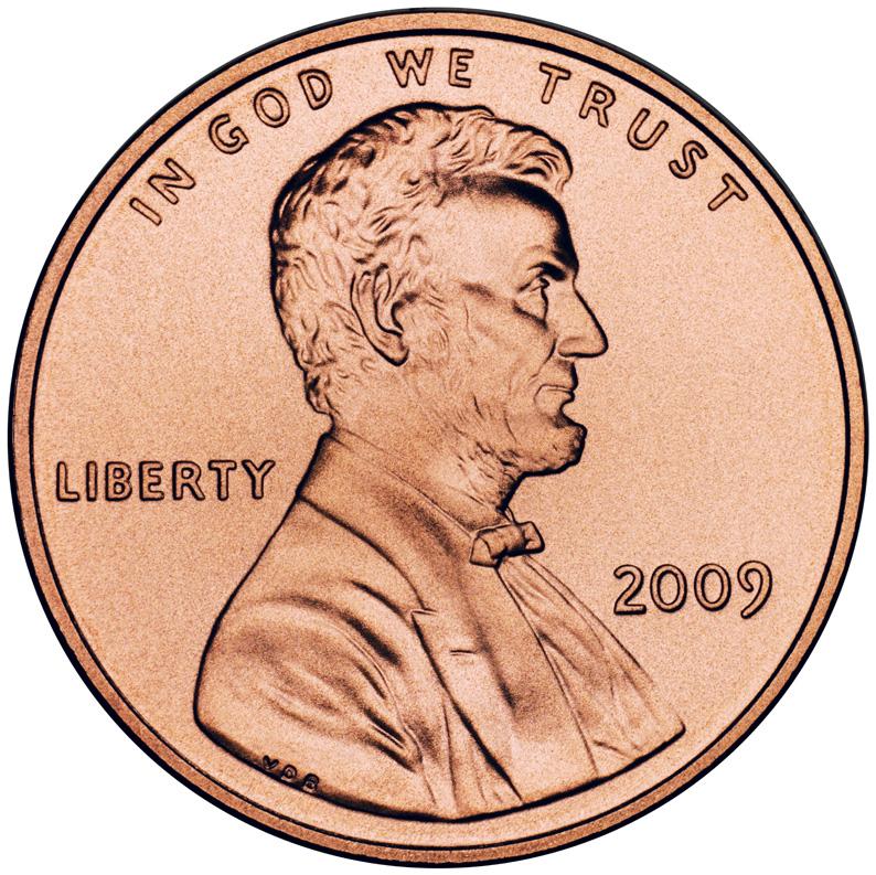 Линкольн на монете 1 цент, 2009