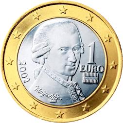 1 евро 2002 г. — австрийская монета с изображением Вольфганга Моцарта