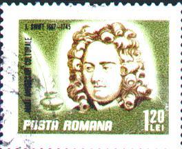 Почтовая марка Румынии, посвящённая Дж. Свифту