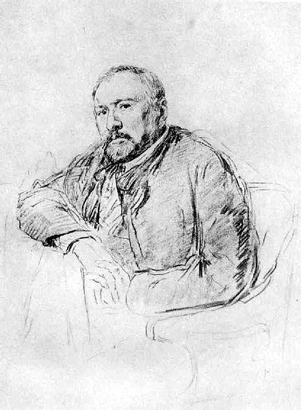 Н. С. Лесков. Рисунок И. Е. Репина, 1888—89 гг.