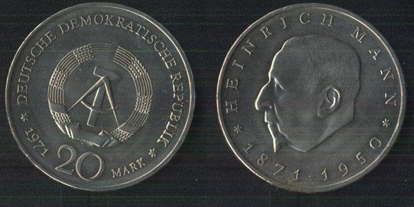 Германия 20 марок 1971 Генрих Манн.