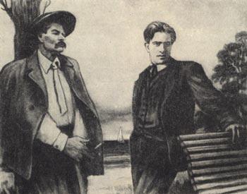 Владимир Маяковский и Максим Горький в Финляндии.