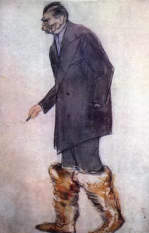 Максим Горький (при рождении Алексей Максимович Пешков). Рис. Бориса Ливанова.
